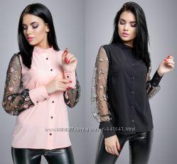 Блуза с рукавами сетка, 2 цвета, р-ры 44-50