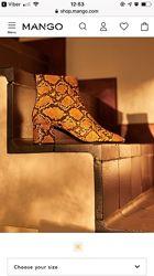Стильні демі ботинки mango принт під рептилію, 38, new