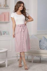 Лёгкая юбка на пуговках, цвета разные