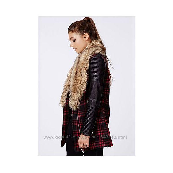 Стильное пальто в клетку -косуха, с меховым воротником missguided Missguided