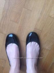 Балетки лаковые черные натуральная кожа