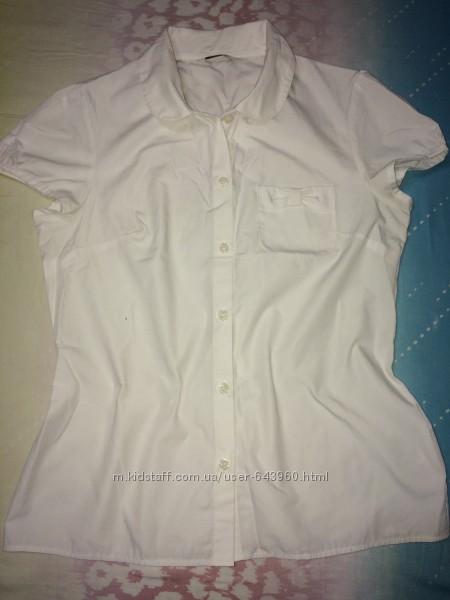 Поло с длинным рукавом, блузка белая 12-13 лет и в голубую клеточку George