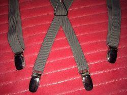 Подтяжки бежевые подростковые и гетры чёрные 55 см