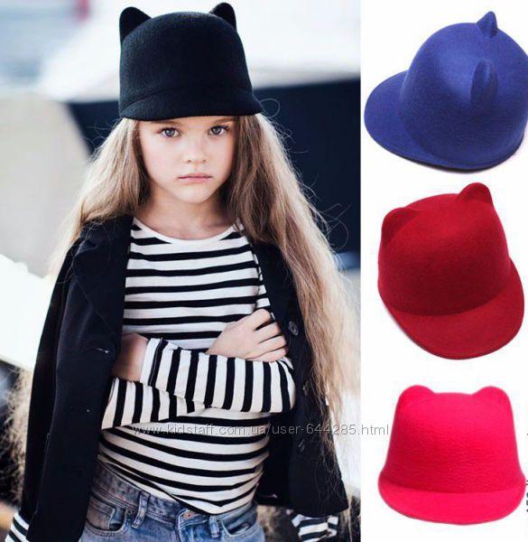 Детская фетровая шляпка с ушками и козырьком Жокейка