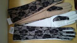 Шикарные длинные теплые перчатки р. МL с кружевными вставками