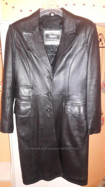 Пальто-плащ кожаный