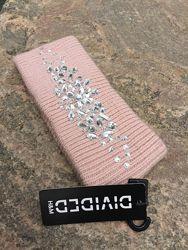 Вязаная повязка на голову розовая H&M