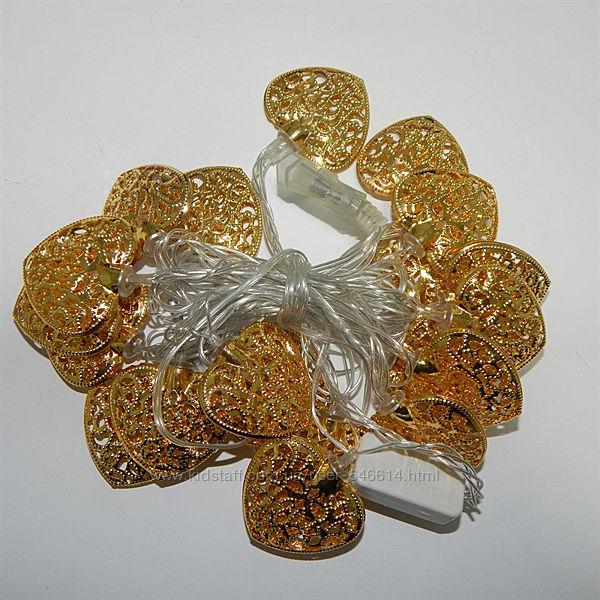 Новогодняя гирлянда сердце золото цвет мульти 20LED