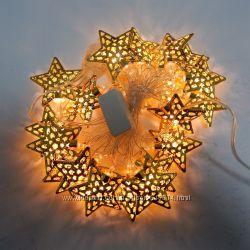 Новогодняя гирлянда звезда золото 20LED