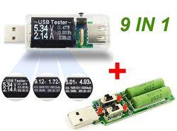 9 в 1 Usb  тестер  с нагрузочным резистором J7-2te, прозрачный корпус