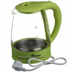 Электрический стеклянный чайник Domotec Light Green, Dark red, Blue