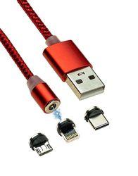 3 в 1 Магнитный кабель USB - Lightning для Apple, Micro Usb, Type-C с подсв
