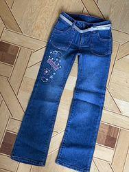 джинсы брюки с ремнем для девочки 5, 6, 7 лет, клеш