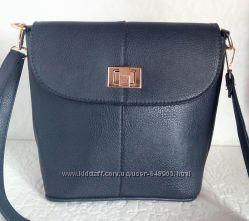 Стильная повседневная сумочка синяя, черная