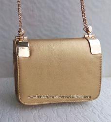 Вечерняя сумочка клатч на цепочке золото, бронза