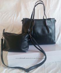 623dd21bf276 2в1 Черная сумка шоппер с клатчем, 390 грн. Наборы сумок купить ...