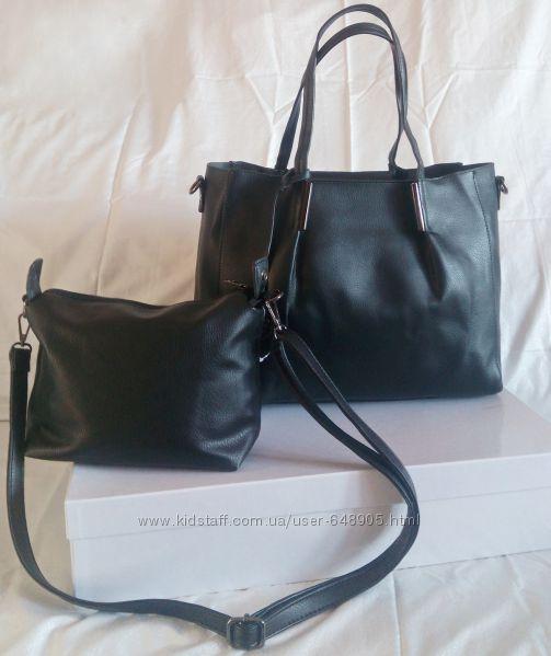2в1 Черная сумка шоппер с клатчем