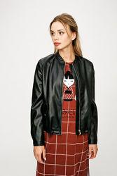 Черная куртка бомбер кожзам кожа M