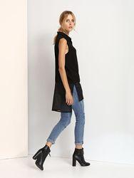 Длинная чёрная рубашка с сеточкой Top Secret