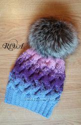 Вязаные зимние шапки. Ручная работа