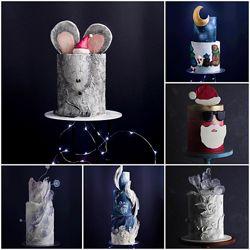 Новогодние торты, 6 уроков tapioka cake