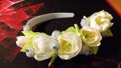 Обручі, заколки, гребінці з квітами ручна робота
