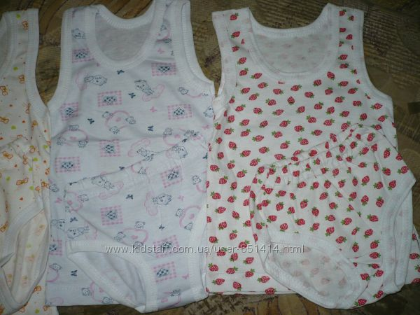 Комплекти бавовняної білизни для дівчаток