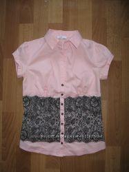 Красивая школьная кружевная блузка oodji