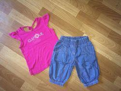 Летний комплект джинсовые котоновые шорты майка футболк