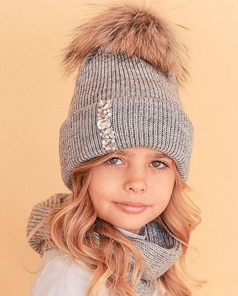 Зимние шапки, комплекты для девочек.