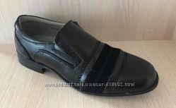 Кожаные школьные туфли для мальчика черные Фламинго
