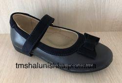 Школьные кожаные туфли темно-синие для девочки