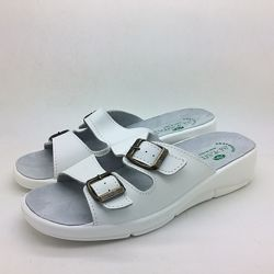 Медицинская обувь, белые кожаные шлепанцы с открытым носком 39 размер