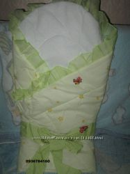 Конверт-плед на выписку для новорожденного - желтый