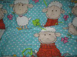 Охранка раздельная  на кроватку голубая овечки