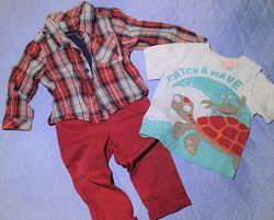 Пакет вещей на 9-18 мес, брюки, реглан, футболка, рубашка-боди