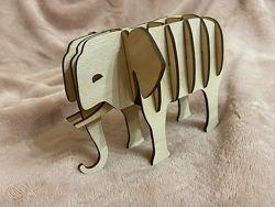 Детский деревянный конструктор. Слоненок. 3d-пазлы