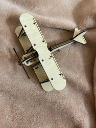 Детский деревянный конструктор. Самолет. Механические 3d-пазлы