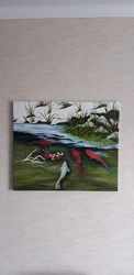 Картина Рыбки кои масло холст подарок интерьер
