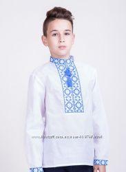 Вышитая сорочка для мальчика  классического покроя с длинными рукавами