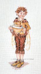 Картина вышитая крестиком Кофейный эльф