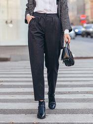 Зауженные брюки из жаккарда в клетку черный, серый