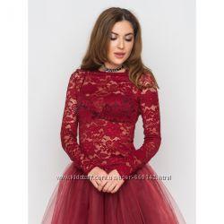 красивая блузка из гипюра с длинным рукавом в цвете бодо размер 44