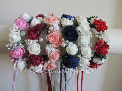 Веночки на пучек гульку с розами цветами. Разные цвета.