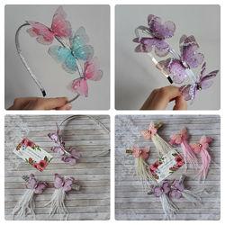 Обруч и заколки с шифоновыми бабочками