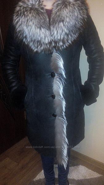 Женская дубленка, мех чернобурка