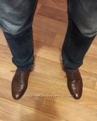 Стильные фирменные модельные мужские туфли. Натуральная кожа. NEXT.