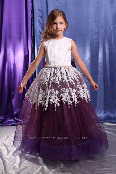 Нарядное детское платье фиолетовое с кружевом размер 116-122