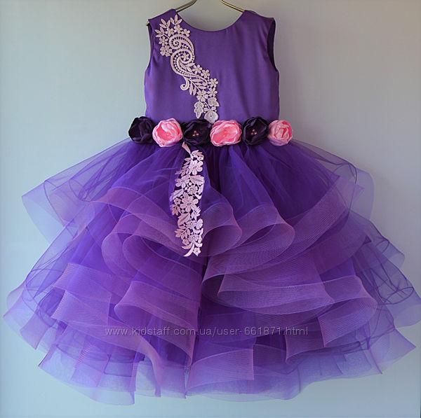 Прокат фиолетовое платье-каскад с регилином 116