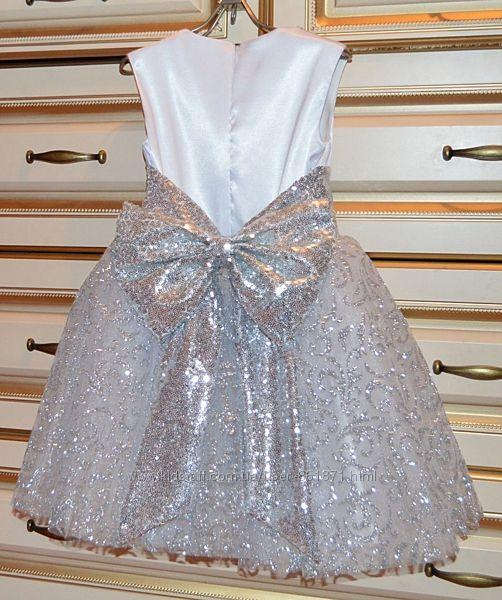 Прокат Нарядное платье серебро с белым 104